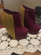 """PRIVILEGED"" WOMANS SZ.6.5 MAROON HEEL-LESS SHOES GORGEOUS!!!!!"