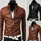 Men's Slim Stand Collar Motorcycle Synthetic Leather Jacket Outwear Coat Spring