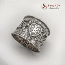 Chinese Export Silver Napkin Ring Repousse Decorations 1900