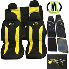 Fiat 500 Punto Uno Car Seat Cover Set 15 Pieces Sports Racing Logo YELLOW 305