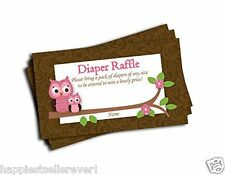 50 Pink Owl Brown Damask Printed Diaper Raffle Tickets Baby Shower Games