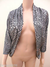 New M&S Per Una Chocolate & Mink Pattern Open Front Bolero Cardigan Sz UK 12