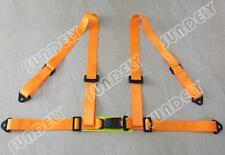 4 Point 4PT Orange H-Style Car Safety Harness Racing Seat Belt Stitches