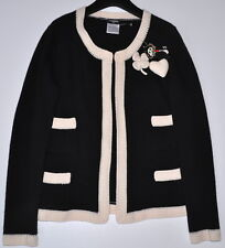 CHANEL 04P CLASSIC CASHMERE CARDIGAN JACKET WITH 3 DETACHABLE PINS,40/42,RARE