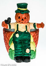 Ceramic Pumpkin Scarecrow Floral Container Halloween Fall Candy Nut Dish