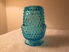 Vintage Indiana Glass Blue Diamond Point Fairy Light Candle Holder Candy Dish