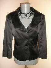 Goth Vintage insp BLACK SATIN  fitted crop Wedding Party corsage JACKET16 UK BHS