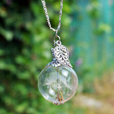 Dandelion Seeds Wish Pendant Leaf Butterfly Glass Ball Necklace Birthday Gift