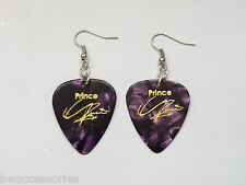 PRINCE guitar pick plectrum pick silver tone EARRINGS stamped signature PURPLE