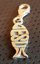 clip on JESUS FISH sterling silver charm .925 Christianity Holy Easter Gift