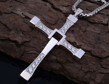 Unisex Silver/Gold Stainless Steel Fast & Furious Cross Pendant Necklace Chain