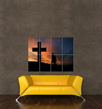 GIANT PRINT POSTER LANDSCAPE CROSS MAN PRAY SILHOUETTE CHRISTIANITY PDC002