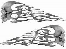 "Tribal Skull Flame Decals Silver Motorcycle Tank 13"" REFLECTIVE FL11"