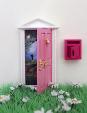 Opening pink fairy door wooden miniature tooth fairy post mail box