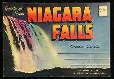Postcard Folder Canada Niagara Falls Ontario Flags Crest Day Night Linen