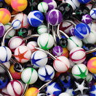 Assorted STAR INLAY 50 Navel Rings Mixed Belly Button MIX Piercing Body Jewelry