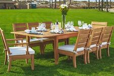 "Atnas 9pc Dining 118"" Rectangle Table Chair Set Grade-A Teak Outdoor Patio New"