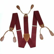 Fashional Men's Suspenders Braces Adjustable Leather Button Holes Warm Red BD704