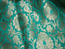 Silk Brocade Fabric Sea Green and Gold Banarasi Silk