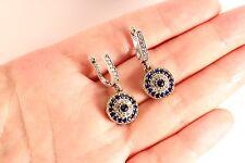 Evil Eye! Turkish Sapphire Topaz 925K Sterling Silver Earrings