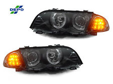 DEPO 99-01 BMW E46 4DR/5DR HALO HEADLIGHTS + SMOKED LENS AMBER LED CORNER LIGHTS