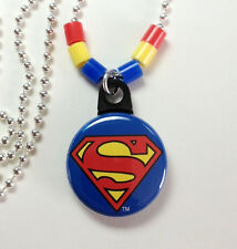 "**SUPERMAN** Necklace 1"" Button Pendant On Chain ~~USA Seller"