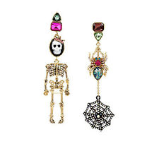 Betsey Johnson Skeletons After Dark Cameo Spider Mismatch Dangle Earring NWT $55