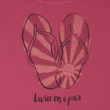 """NWTS! LIFE IS GOOD WOMENS S/S CRUSHER SCOOP FLIP FLOPS..  """"LIVIN' ON A PAIR"""" (L)"""