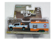 Chase 2015 FORD F-150 GULF OIL #68 & TRAILER HITCH TOW 7 1/64 GREENLIGHT 32070 B