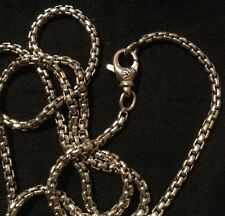 "David Yurman Men's Sterling Silver Small Box Chain 22"" 2.7mm Necklace"