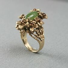 Antique Art Nouveau Gold, Jade, Ruby Ring