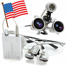 Dental Loupes 3.5X420mm Optical Glass + Head LED light Lamp Surgical Binocular