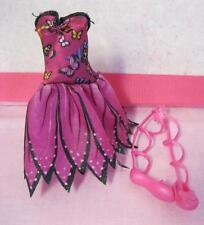 2007 Magic Mariposa Barbie Butterfly Fairy Fairytopia DRESS & wRAP SHOES CLOTHES
