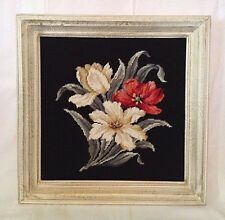 Completed FLORAL Needlepoint Picture Black Red White Finished & Framed