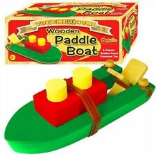 NEW WOODEN PADDLE BOAT RUBBER BAND POWERED TRADITIONAL TOY BOXED PW