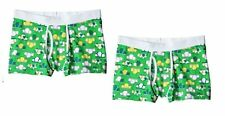2 Mens Mossimo Boxer Brief Cotton Low Rise Graphic Funny Shamrock Green L