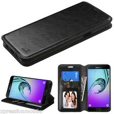 For Samsung GALAXY A3 A310 2016 Leather Flip Wallet Case Cover Stand BLACK