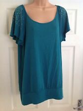 M&S Ladies Size 18 Turquoise Studded Shoulder Tunic Top