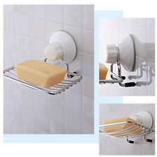 Strong Suction Wall Soap Holder Bathroom Shower Cup Stainless Dish Basket Tray