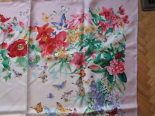 """Brooks Brothers 100% Twill Silk Scarf Garden Scene Floral 34"""" square hand rolled"""