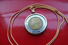 "Italian 500 Lire Classic Coin Pendant on a 24"" 18k Gold Filled Snake Chain"