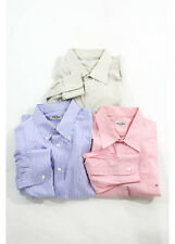 Ascot Chang Lot 3 Blue White Striped Mens Button Down Shirt Size Large RB751
