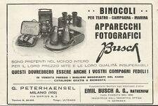 W0893 Binocoli e apparecchi fotografici BUSCH - Pubblicità 1930 - Advertising