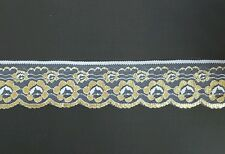 White and Gold Flower Lace Trim 6 cm 5mtrs