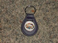 PLYMOUTH ROAD RUNNER RAPID TRANSIT LOGO LEATHER KEYCHAIN KEYRING NEW PURPLE