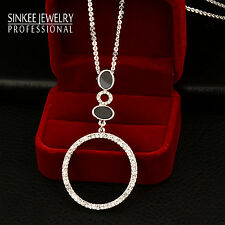 Simply Fashion Big Rhinestone Circle Pendant Long Necklace Chain For Women Lady