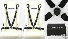 2 TANAKA BLACK 4 POINT CAMLOCK QUICK RELEASE RACING SEAT BELT HARNESS FIT FORD *
