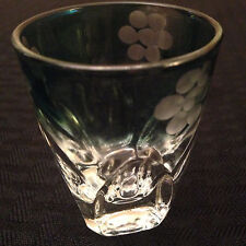 Vintage Collectible Green Clear Shot Glass with 3 Flower Gold Tone on the Rim