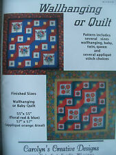 SEW QUILT PATTERN FOR MANY SIZES AND SEVERAL APPLIQUE STITCH CHOICES BABY-QUEEN