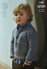 KNITTING PATTERN Boys Button Neck Long Sleeve Jumper Aran 3340 King Cole